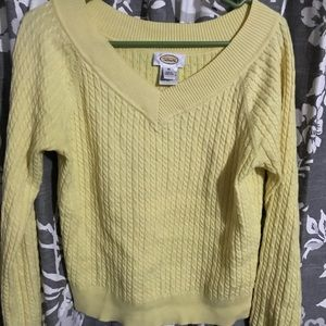 Talbots yellow cable knit sweater size m